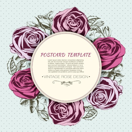 Floral background with roses, greeting card template Vector