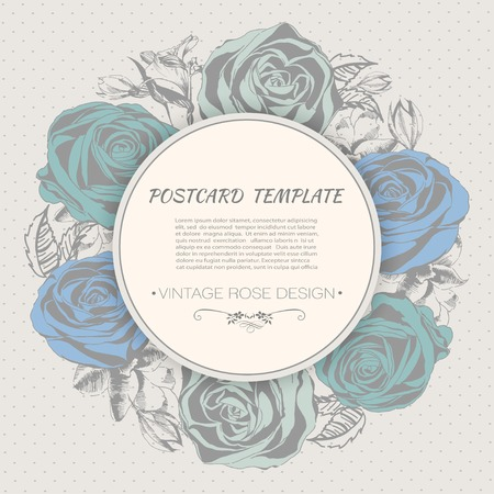 Floral background with roses. Vintage style Vector