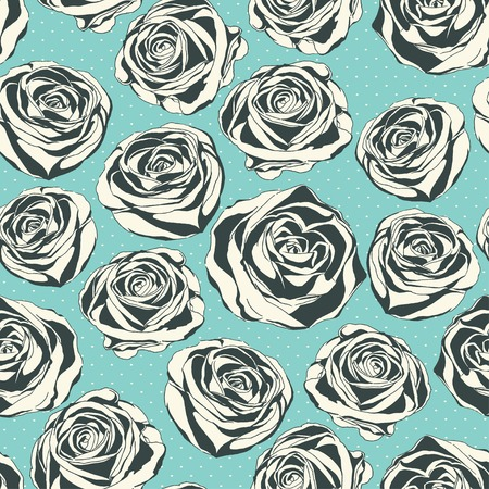 Vintage floral  pattern with hand drawn roses Vector
