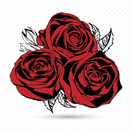 brie: Red roses on white background. Vector illustration.