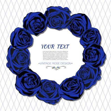 Uitstekende kaart met een ronde frame van blauwe rozen.