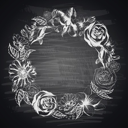 hand drawn flower: Hand-drawn floral border on blackboard Illustration