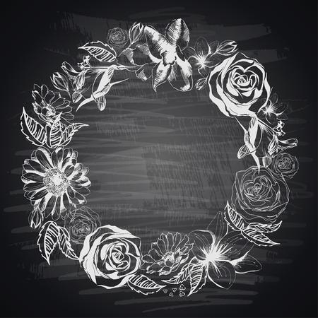dessin fleur: Hand-drawn floral fronti�re sur le tableau noir