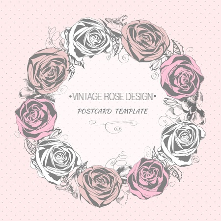 Floral wreath with blooming roses. Vintage greeting card Vector