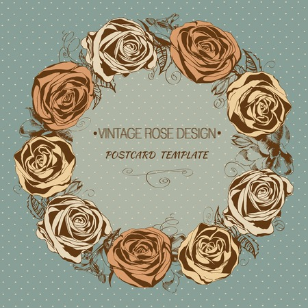 Vintage rose background. Floral wreath. Vector greeting card Vector