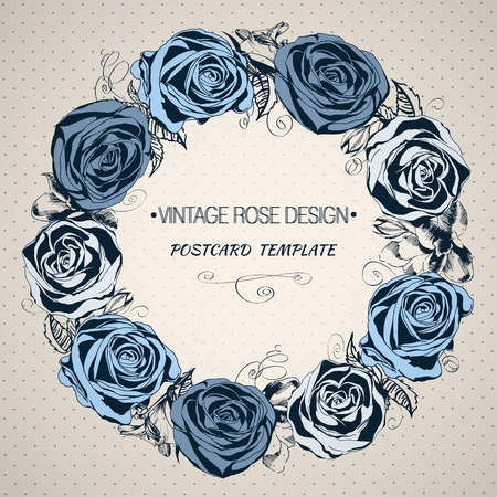 Hand drawn floral wreath with blue roses in vintage style. Vector