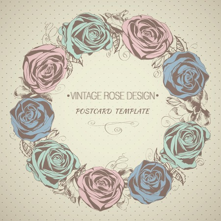 Vintage background with roses. Floral wreath. Vector illustration Vector