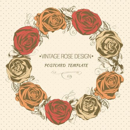 Vintage rose wreath. Vector greeting card Vector