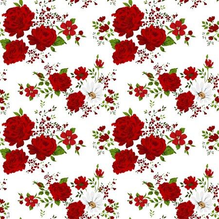 Naadloos patroon met rode bloemen. Vector illustratie. Stock Illustratie