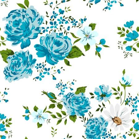 美しいビンテージ シームレスな花柄の背景。  イラスト・ベクター素材