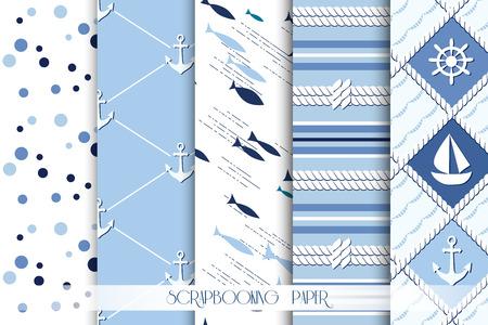caballo de mar: Conjunto de mar y patrones sin fisuras n�uticas en colores blanco y azul marino. Ilustraci�n del vector.