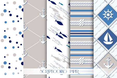 dark beige: Set of sea and nautical seamless patterns in white, beige and dark blue colors. Vector illustration.
