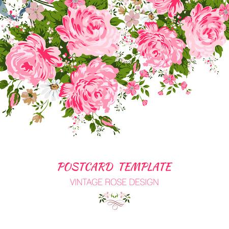 Trouwkaart of uitnodiging met abstracte bloemen achtergrond.