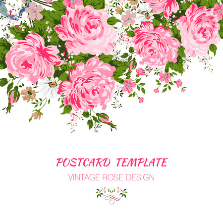 Wedding card or invitation with abstract floral background. Ilustração