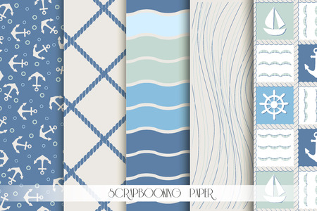 on the ropes: Set of blue and white sea seamless patterns. Scrapbook design elements. All patterns are included in swatch menu. Illustration