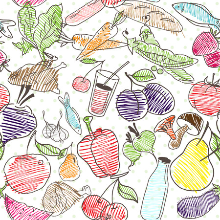 Healthy lifestyle background. Vector pattern Illustration