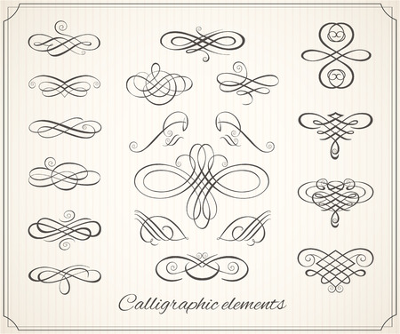 Calligraphic design elements and page decoration. Vector set