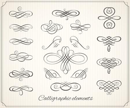 elements: Elementos de diseño caligráfico y decoración de página. Vector conjunto