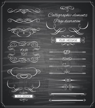 Vintage ornaments and dividers, calligraphic design elements Illustration