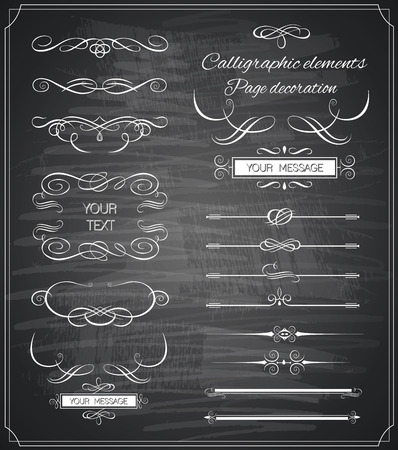 Vintage ornaments and dividers, calligraphic design elements Ilustração