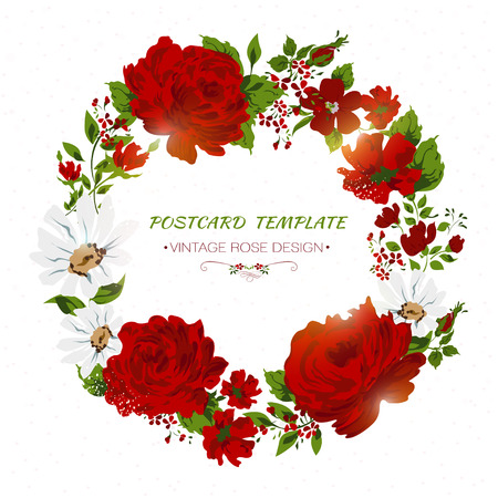 Vintage card with red roses, peony, camomile. Floral invitation Vector
