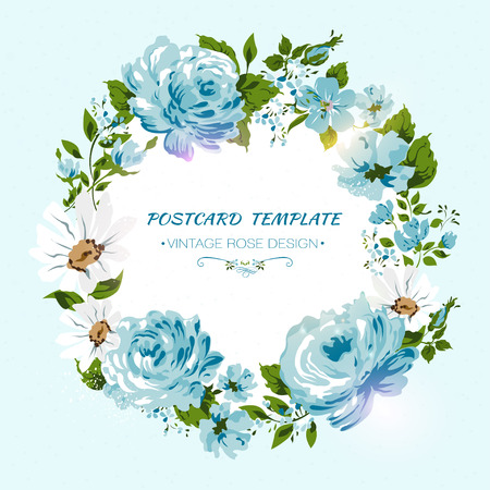 Vintage card with flowers- rose, peony, camomile. Floral invitation Vector