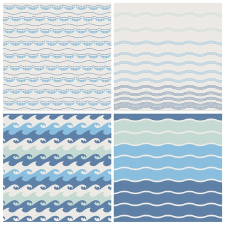 waves pattern: Set of sea wave. Seamless patterns in white, turquoise and dark blue colors. Vector illustration.