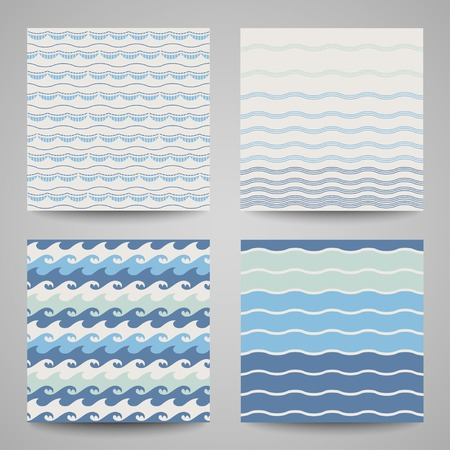 Set of sea wave. Seamless patterns in white, turquoise and dark blue colors. Vector illustration. Vector
