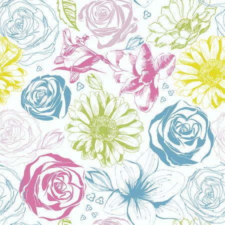 eleg�ncia: Elegance padr�o abstrato sem emenda com fundo floral Ilustra��o