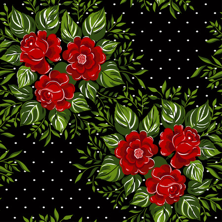 black white red: Seamless floral pattern with of red roses on black background