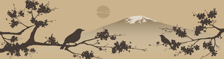 Japanese design with Fuji mountain and Sakua Tree. Ilustração