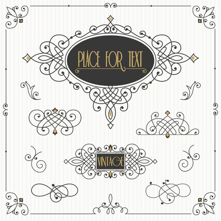simple border: Decorative swirls vector set. Vintage borders, vignettes, scroll elements Illustration