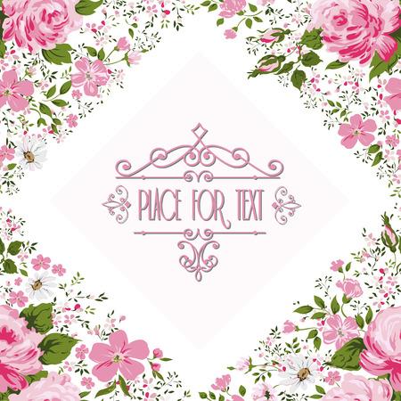 elegantly: Elegant frame with roses. Floral background