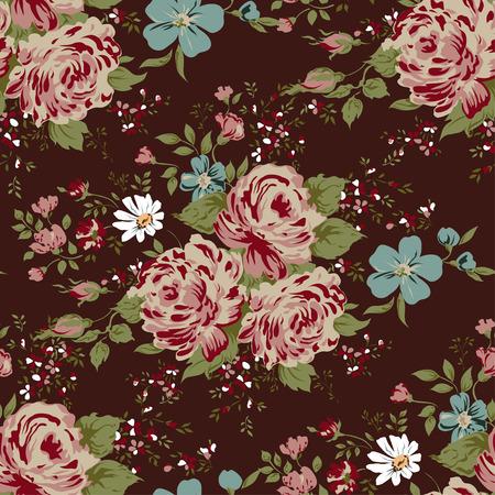 pink flower: wallpaper seamless vintage pink flower pattern. Illustration