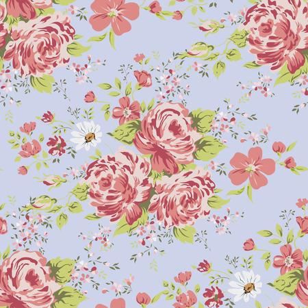wallpaper seamless vintage pink flower pattern. Иллюстрация