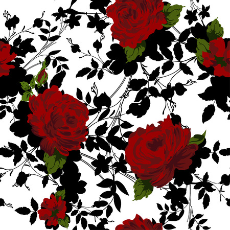 Seamless floral pattern with Red Roses. Иллюстрация