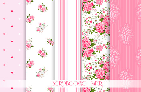 polka dot fabric: Set of vector patterns with roses. Seamless floral background and borders. Illustration