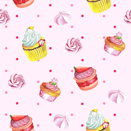 Watercolor seamless pattern with cupcakes.