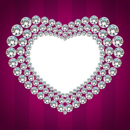 diamante: Shiny diamond heart frame. Invitation card Illustration
