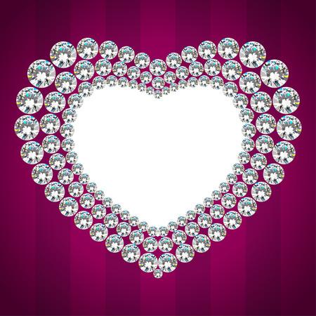 coeur diamant: Brillant cadre de coeur de diamant. Luxe carton d'invitation Illustration