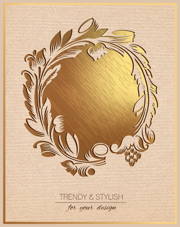 Invitation card with gold floral ornament. Template frame design for greeting card. You can place your text in the empty frame.