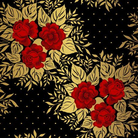 gold floral: Red roses on gold background. Floral pattern. Vector Illustration