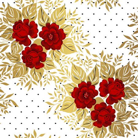Red roses on gold background. Floral pattern. Vector Illustration