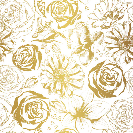 Elegant white pattern with gold flowers. Vector illustration.