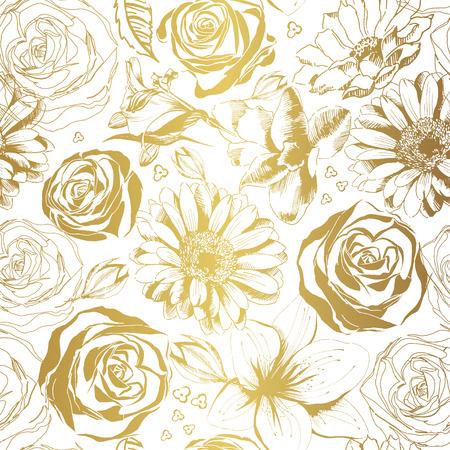 Elegant white pattern with gold flowers. Vector illustration.