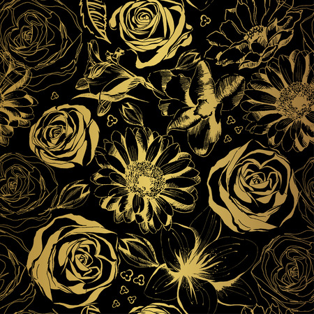 Elegant black pattern with gold flowers. Vector illustration. Ilustração