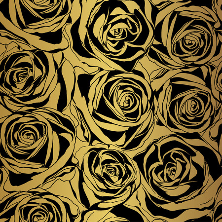 Elegant black rose pattern on gold background. Vector illustration.