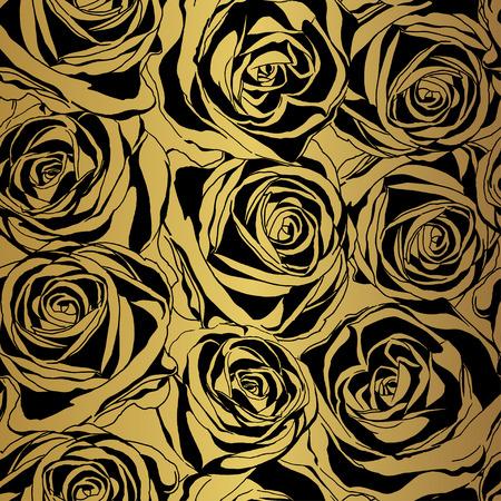 Elegante zwarte roos patroon op gouden achtergrond. Vector illustratie.