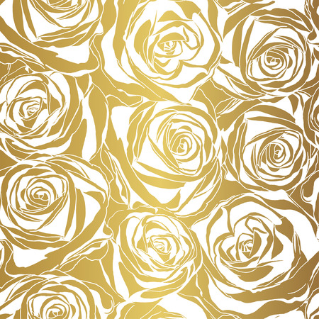 Elegant white rose pattern on gold background. Vector illustration. Vettoriali