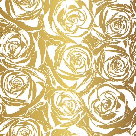 flower patterns: Elegante witte roos patroon op gouden achtergrond. Vector illustratie.